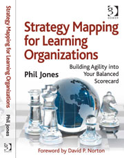 "Front cover for ""Strategy Mapping for Learning organizations (published by Routledge), Author Phil Jones"