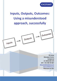 Cover of Inputs outputs outcomes, using a misunderstood approach successfully